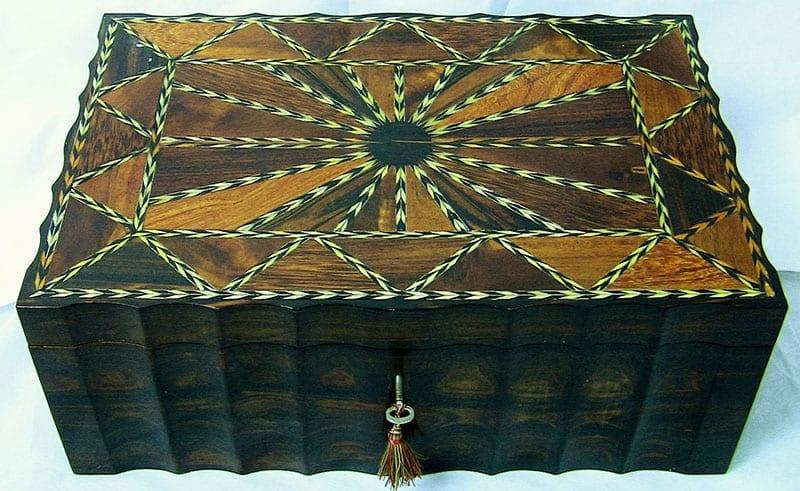 19C Anglo-Ceylonese Coromandel & Specimen Wood Stationery-Sewing Box. (3)