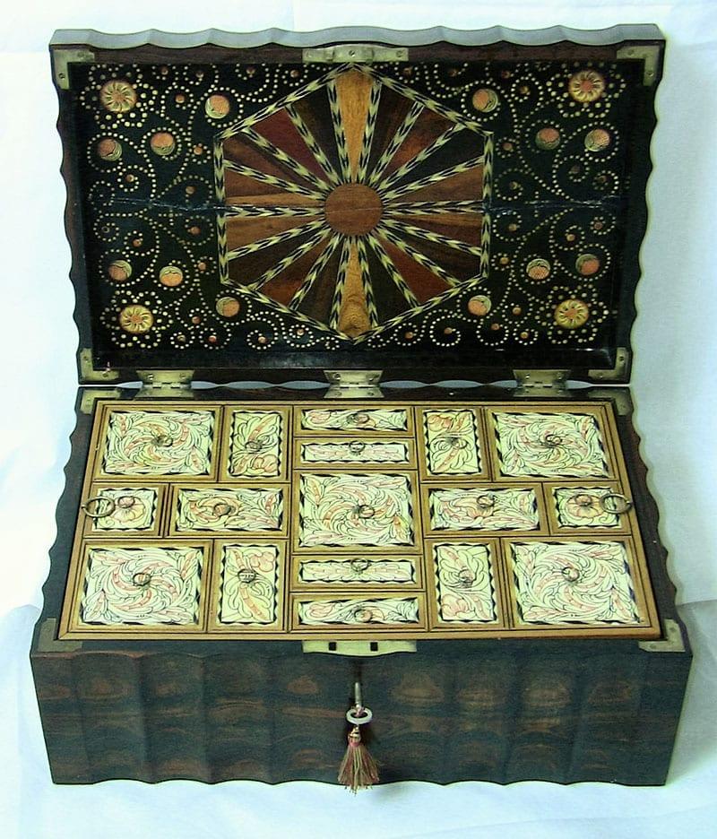 19C Anglo-Ceylonese Coromandel & Specimen Wood Stationery-Sewing Box.(2)
