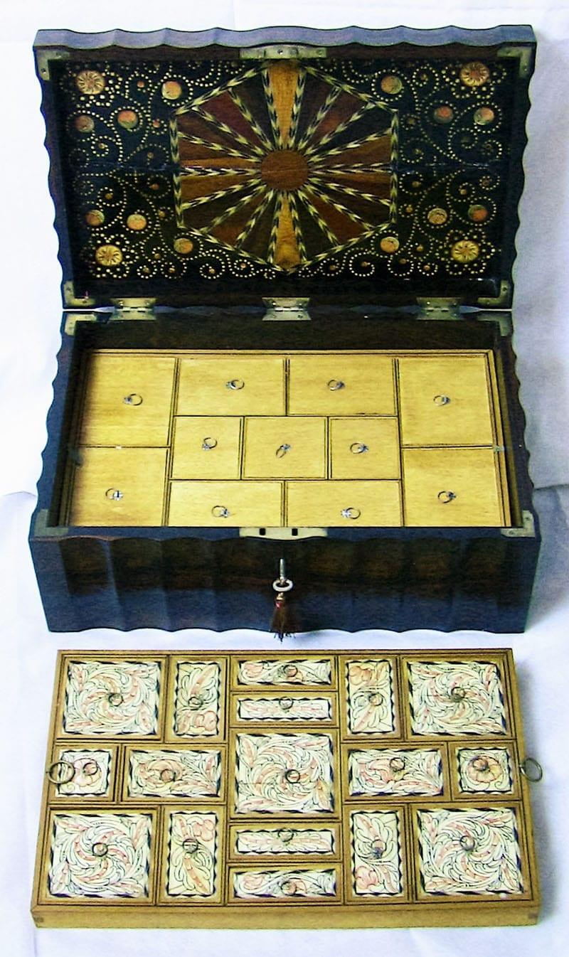 19C Anglo-Ceylonese Coromandel & Specimen Wood Stationery-Sewing Box