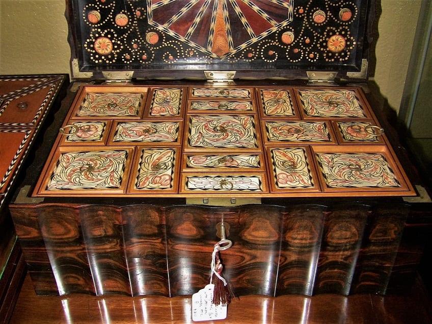 19C Anglo Ceylonese Coromandel Stationary Box with Specimen Woods (2)