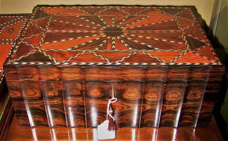 19C Anglo Ceylonese Coromandel Stationary Box with Specimen Woods (5)