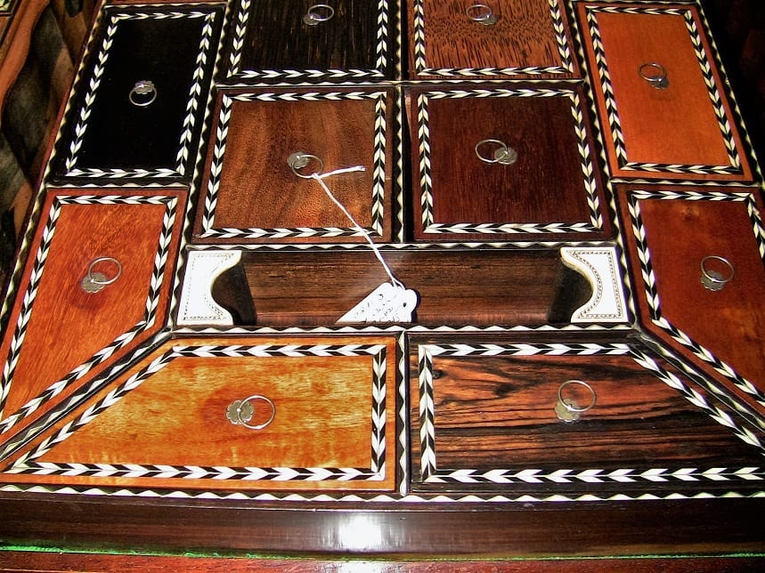19C Anglo Ceylonese Specimen Wood Stationary Tray (2)