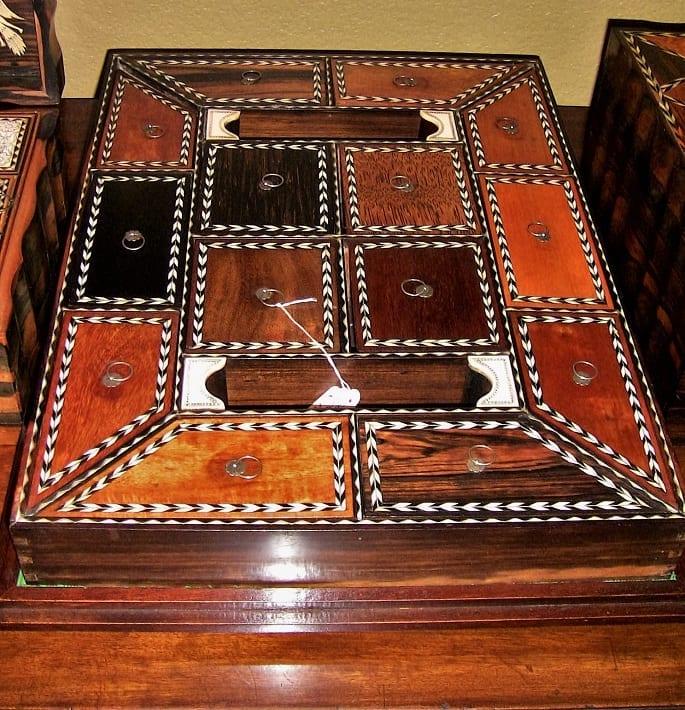 19C Anglo Ceylonese Specimen Wood Stationary Tray (4)