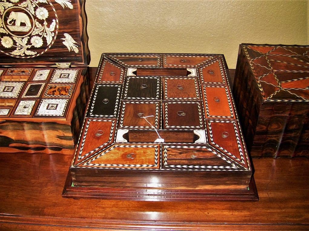 19C Anglo Ceylonese Specimen Wood Stationary Tray (5)
