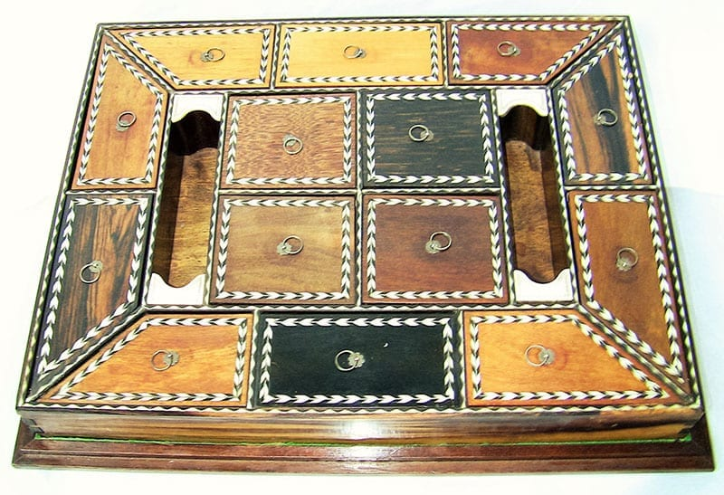 19C Anglo-Ceylonese Specimen Wood Stationery Tray (2)