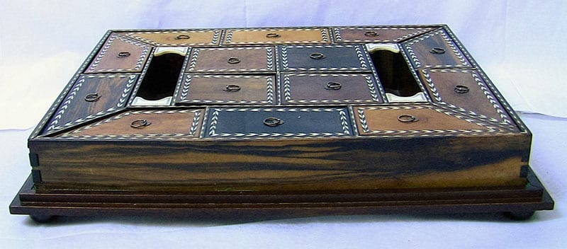 19C Anglo-Ceylonese Specimen Wood Stationery Tray