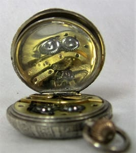 19C Solid Silver French Ladies Pocket Watch Interior