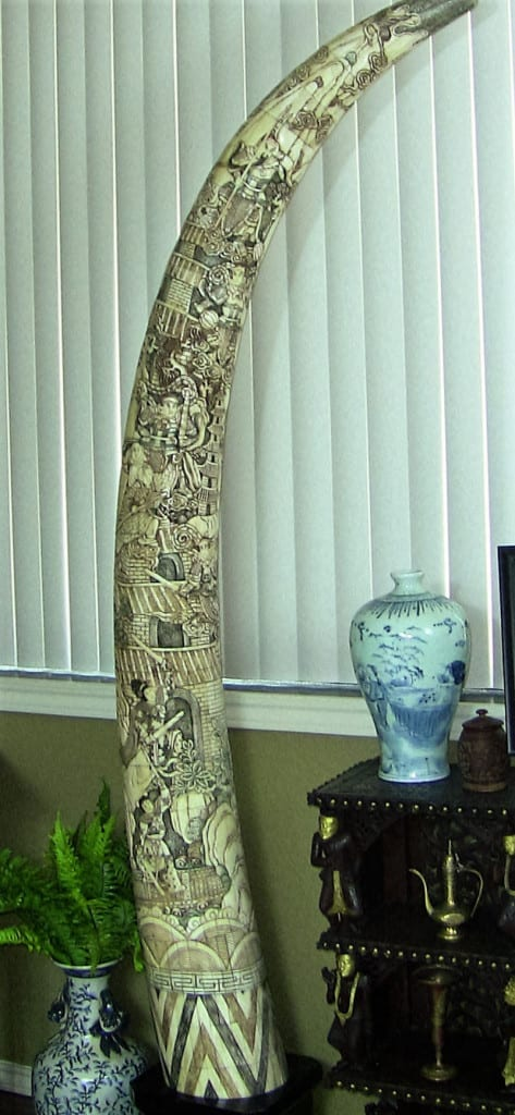 Chinese Highly Carved Faux Ivory Tusks