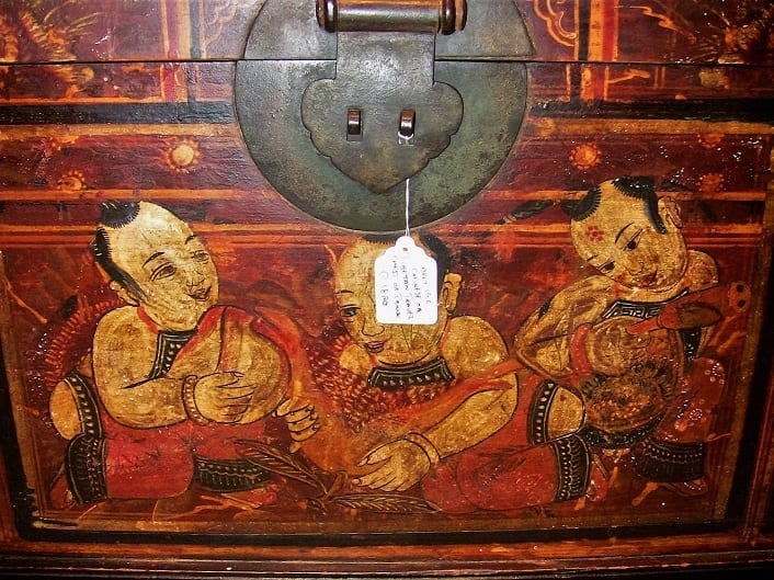 19C Chinese or Tibetan Monks Travel Chest