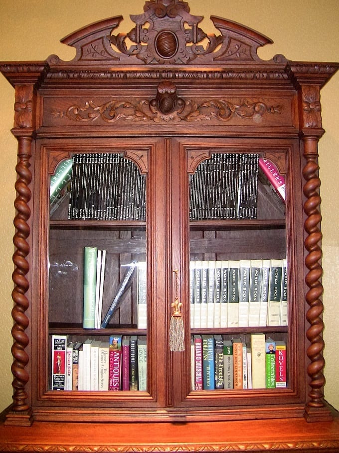 19C French Provincial Oak Hunt Bookcase