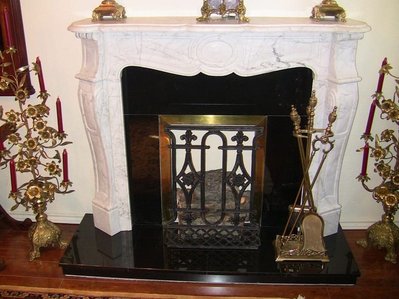 Irish White Marble Fireplace - Complete
