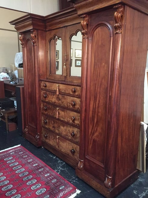 Early 19C British Mahogany Gothic Revival Wardrobe