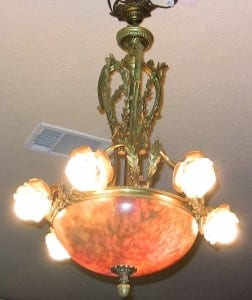 19C French Ormolu and Alabaster Chandelier