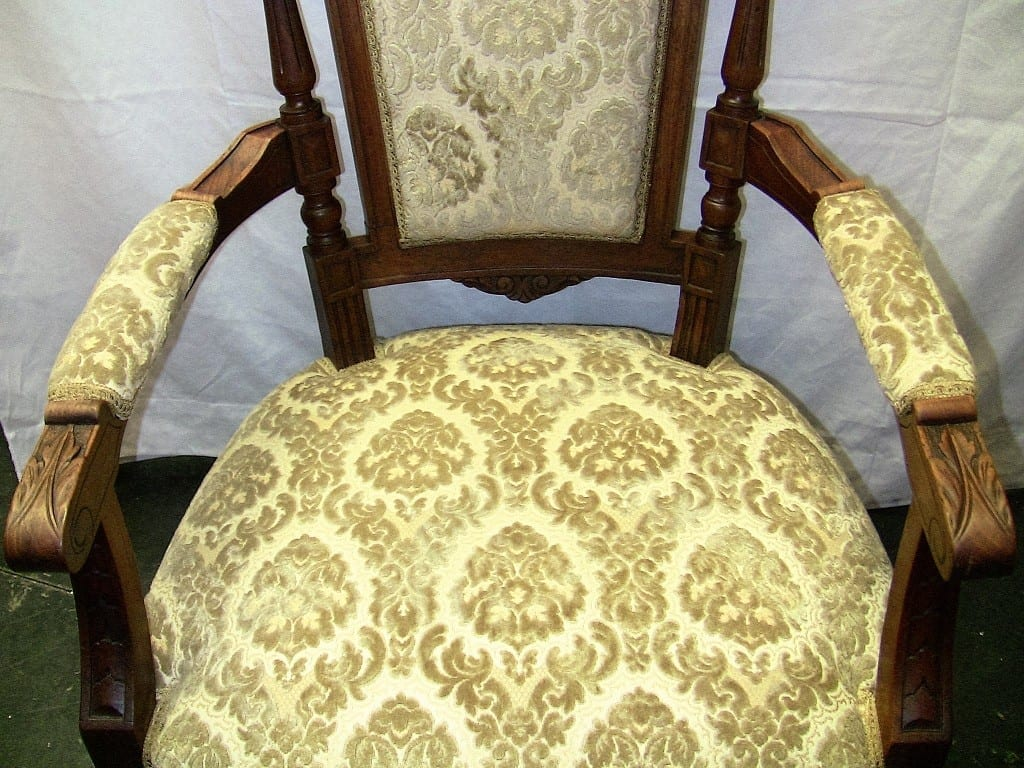 19C Pair of French Louis XVI Style Walnut Armchairs