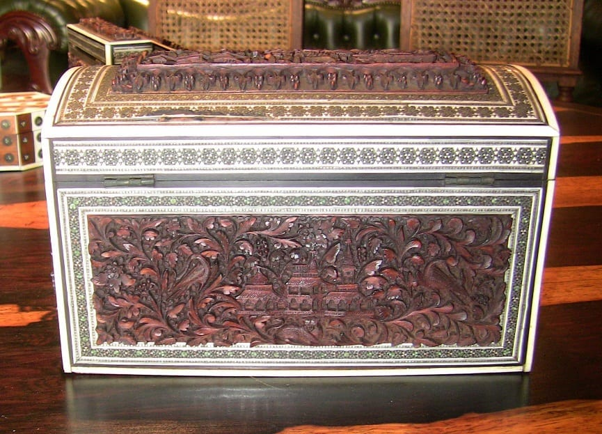19C Anglo Indian Heavily Carved Padouk and Sadeli Double Caddy