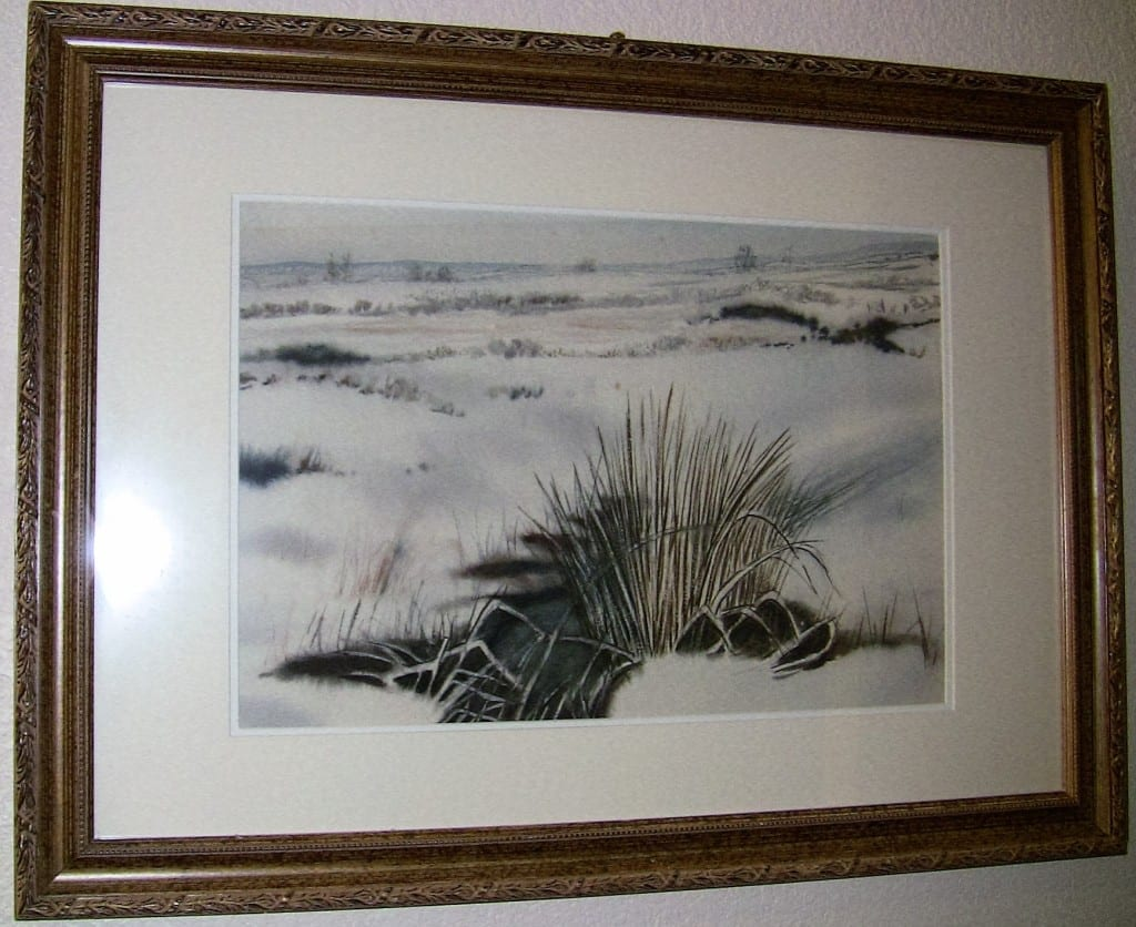 Large Irish Watercolor Snow on the Bog by Rev JH Flack