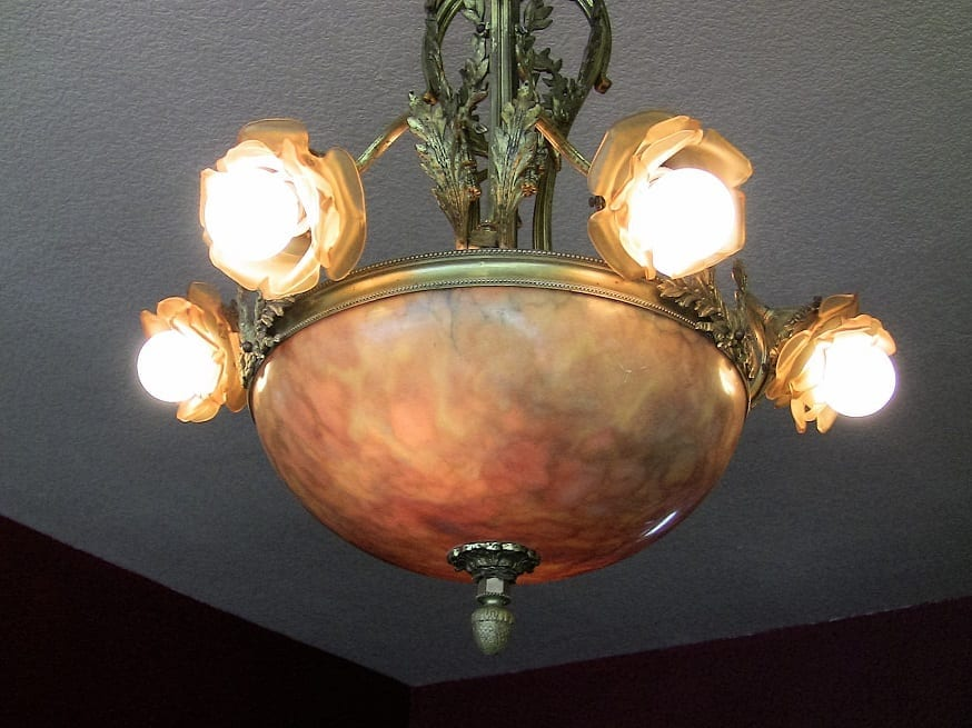 19C Large French Ormolu and Alabaster Chandelier