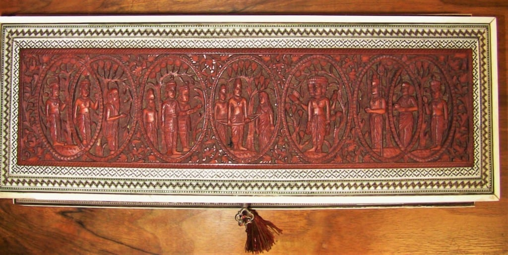 19C Anglo Indian Highly Carved Sadeli Mosaic Scroll Box
