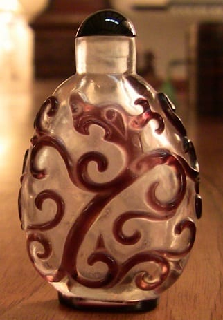 Chinese Frosted Glass & Burgundy Relief Snuff Bottle (2)