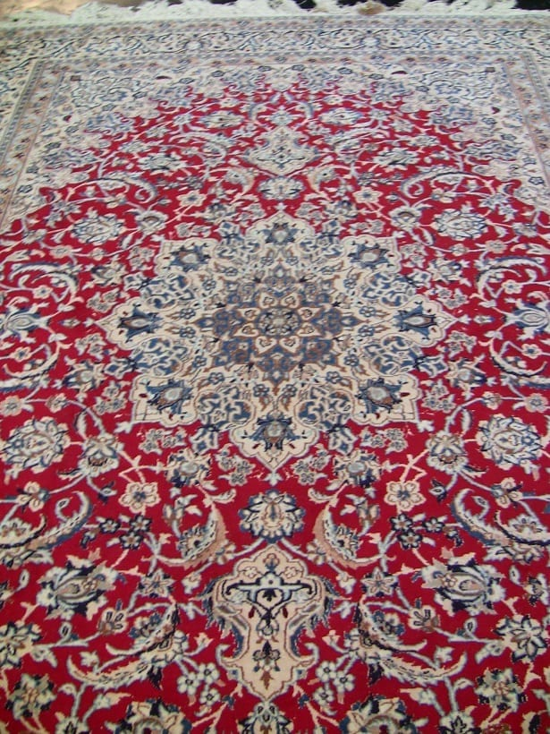 Large Persian Tabriz Area Rug Red Blue Cream