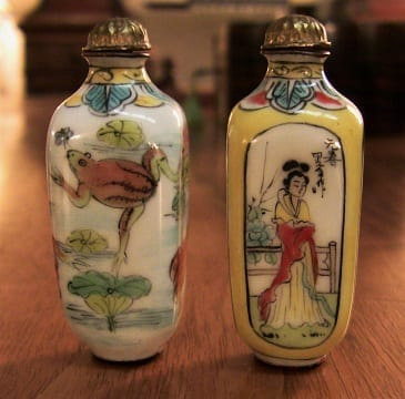 Pair of Chinese Enameled & Hand-painted snuff bottles. (2)