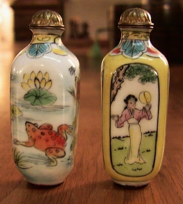 Pair of Chinese Enameled & Hand-painted snuff bottles. (3)