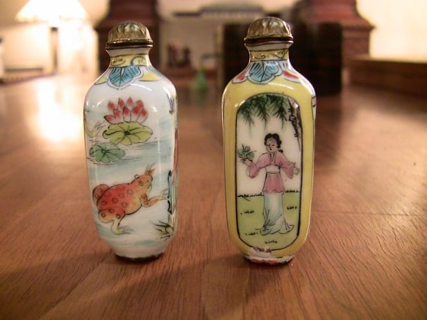 Pair of Chinese Enameled & Hand-painted snuff bottles.