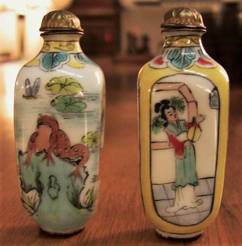 Pair of Chinese Enameled & Hand-painted snuff bottles