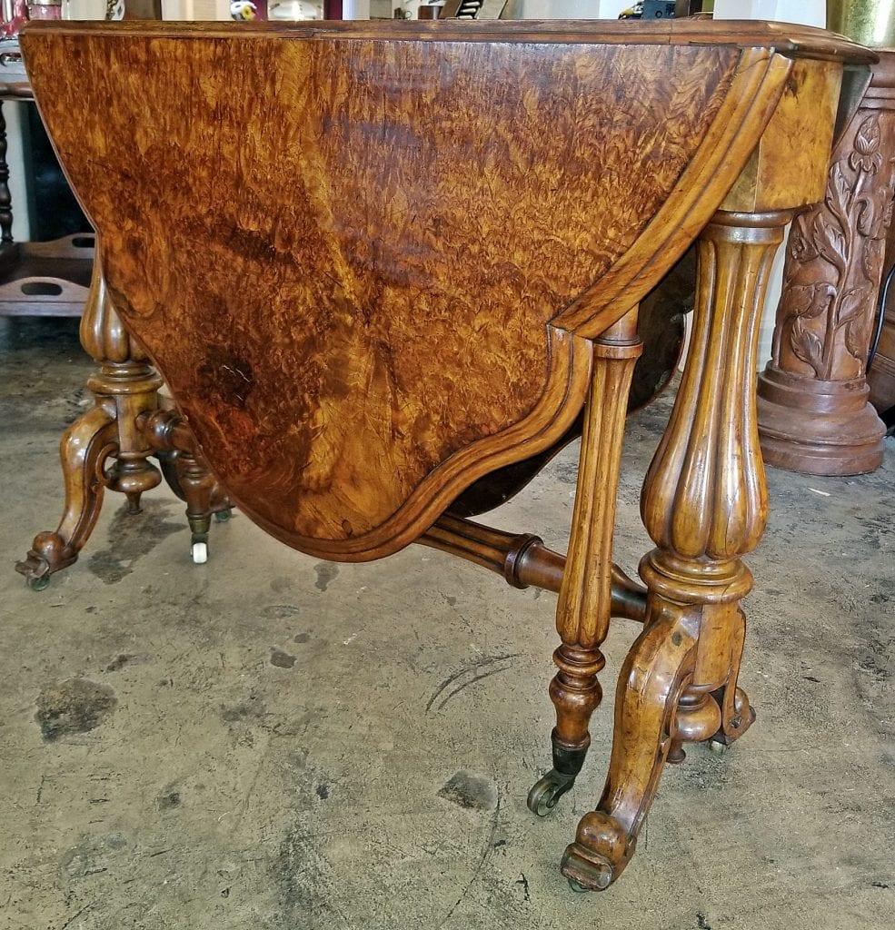 19C English Burl Walnut Sutherland Table
