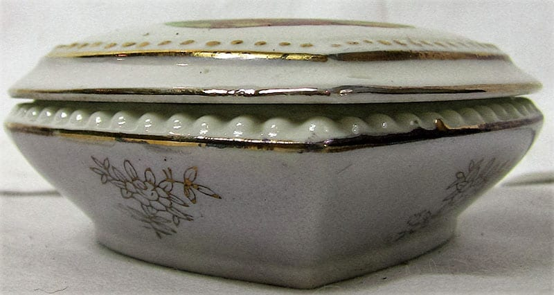 Vintage French Limoges Style Heart Shaped Porcelain Box with Lid