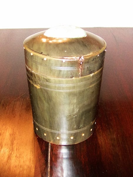 18C Scottish Horn and Polished Stone Tea Caddy