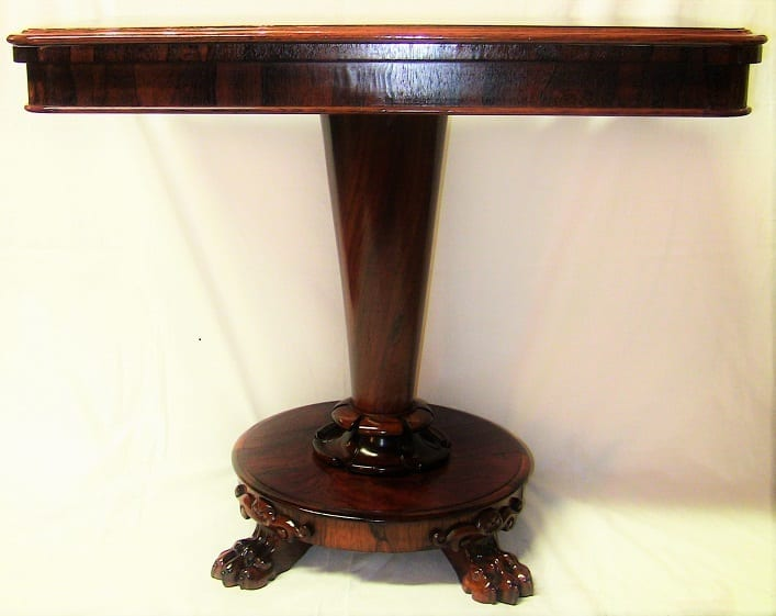 19C British Regency Rosewood Fold over Side Table with Lions Paw Feet