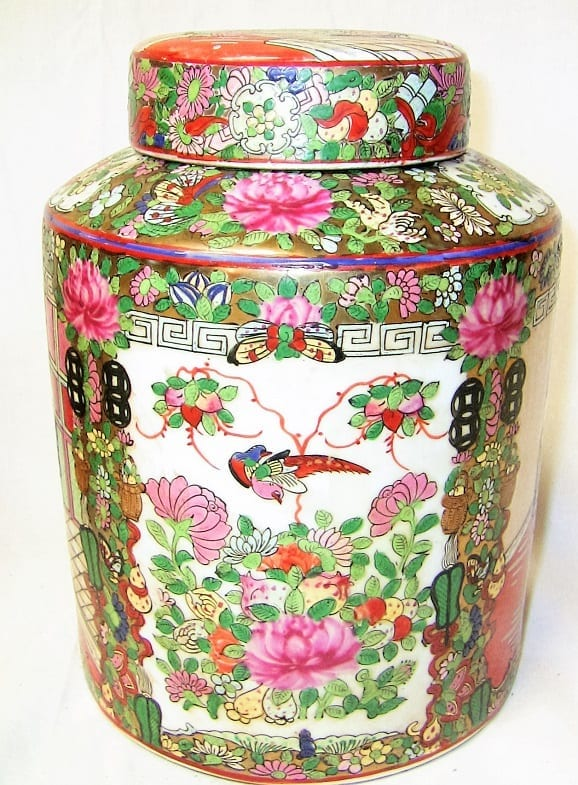 19C Chinese Pair of Cantonese Famille Rose Large Lidded Ginger Jars